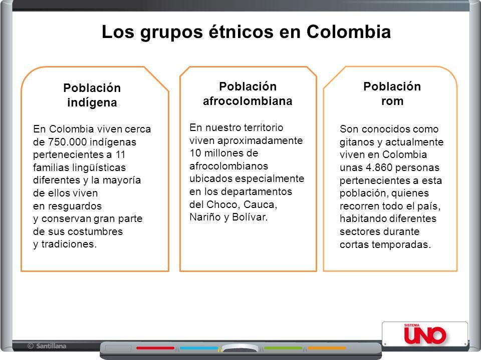 Los grupos étnicos en Colombia Población indígena En Colombia viven cerca de 750.000 indígenas pertenecientes a 11 familias lingüísticas diferentes y la mayoría de ellos viven en resguardos y conservan gran parte de sus costumbres y tradiciones.