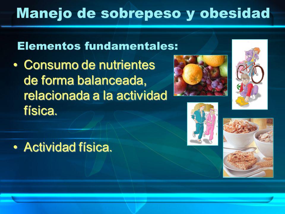 Manejo de sobrepeso y obesidad Consumo de nutrientes de forma balanceada, relacionada a la actividad física.Consumo de nutrientes de forma balanceada,