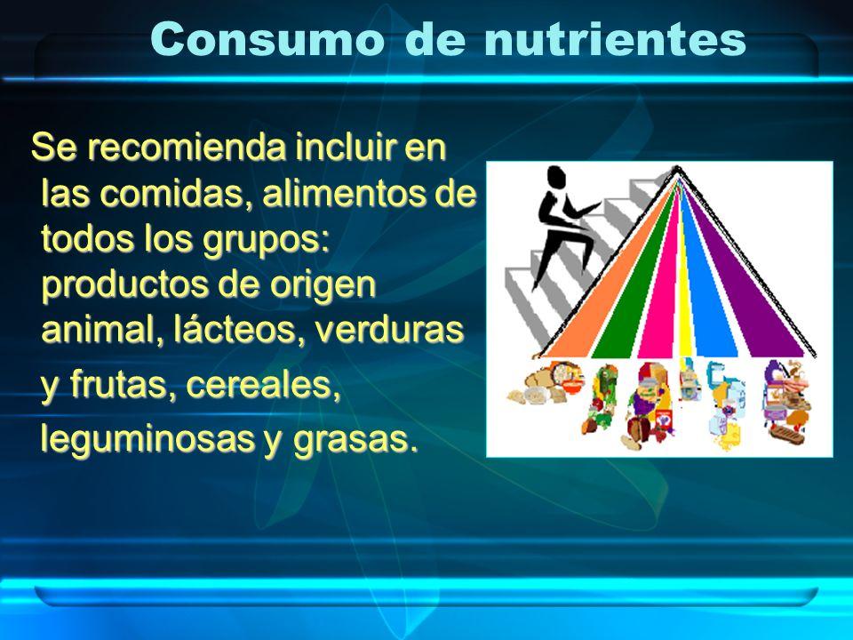 Se recomienda incluir en las comidas, alimentos de todos los grupos: productos de origen animal, lácteos, verduras Se recomienda incluir en las comida