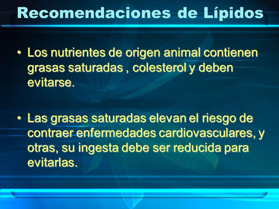 Los nutrientes de origen animal contienen grasas saturadas, colesterol y deben evitarse.Los nutrientes de origen animal contienen grasas saturadas, co