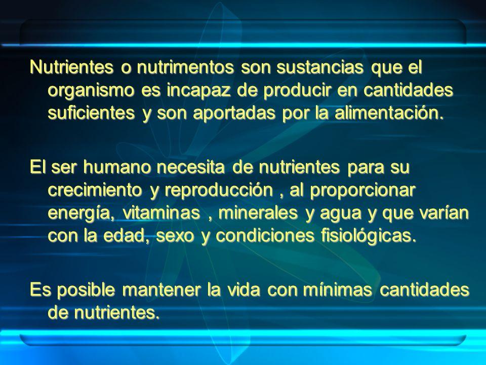 Nutrientes o nutrimentos son sustancias que el organismo es incapaz de producir en cantidades suficientes y son aportadas por la alimentación. El ser