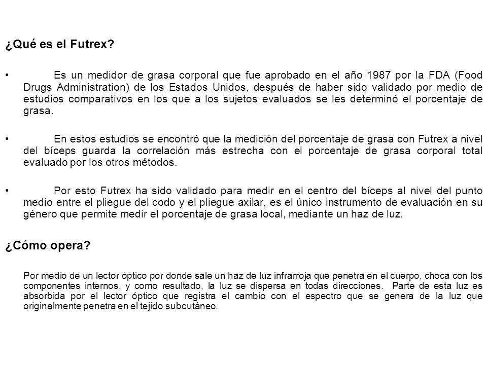 ¿Qué es el Futrex? Es un medidor de grasa corporal que fue aprobado en el año 1987 por la FDA (Food Drugs Administration) de los Estados Unidos, despu