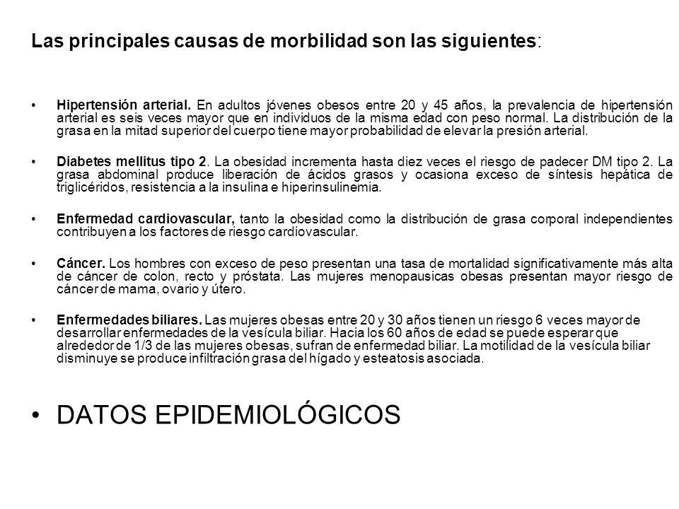 Las principales causas de morbilidad son las siguientes: Hipertensión arterial. En adultos jóvenes obesos entre 20 y 45 años, la prevalencia de hipert