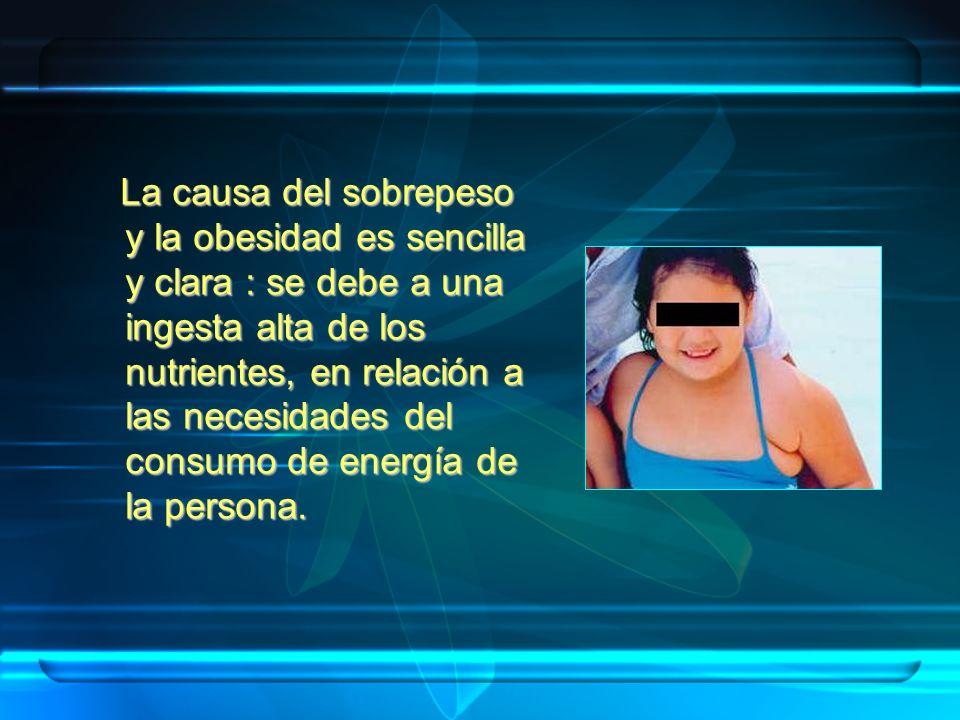 La causa del sobrepeso y la obesidad es sencilla y clara : se debe a una ingesta alta de los nutrientes, en relación a las necesidades del consumo de