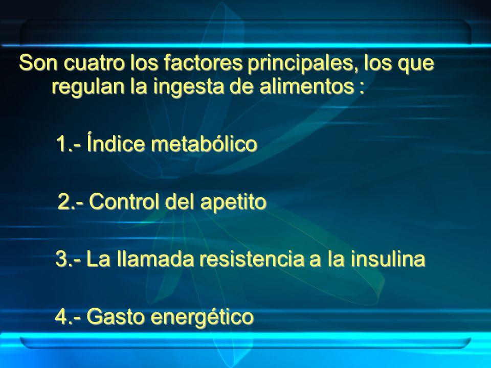 Son cuatro los factores principales, los que regulan la ingesta de alimentos : 1.- Índice metabólico 1.- Índice metabólico 2.- Control del apetito 2.-
