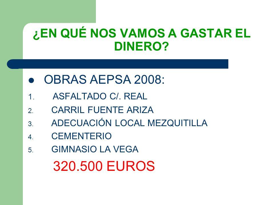 ¿EN QUÉ NOS VAMOS A GASTAR EL DINERO. OBRAS AEPSA 2008: 1.