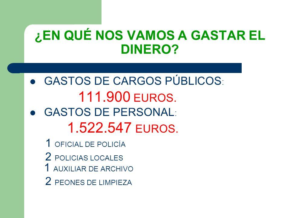 GASTOS DE CARGOS PÚBLICOS : 111.900 EUROS. GASTOS DE PERSONAL : 1.522.547 EUROS.