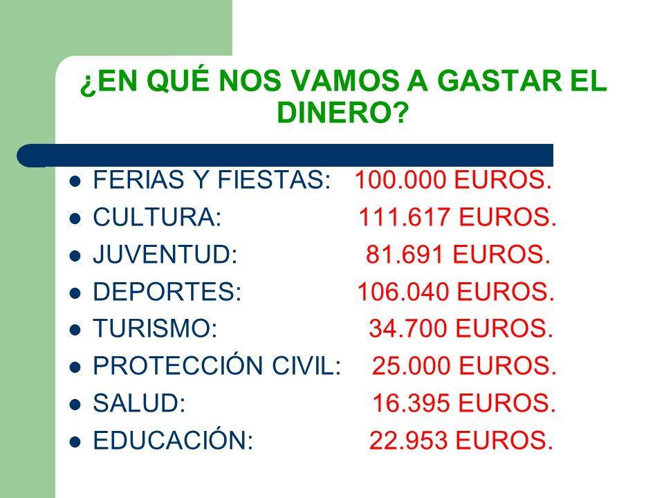 ¿EN QUÉ NOS VAMOS A GASTAR EL DINERO. FERIAS Y FIESTAS: 100.000 EUROS.