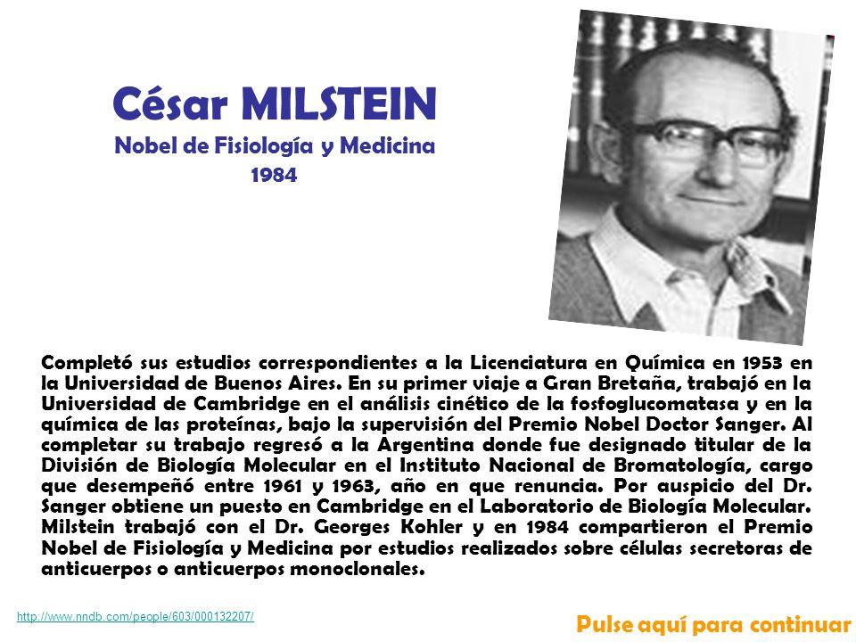 Completó sus estudios correspondientes a la Licenciatura en Química en 1953 en la Universidad de Buenos Aires.