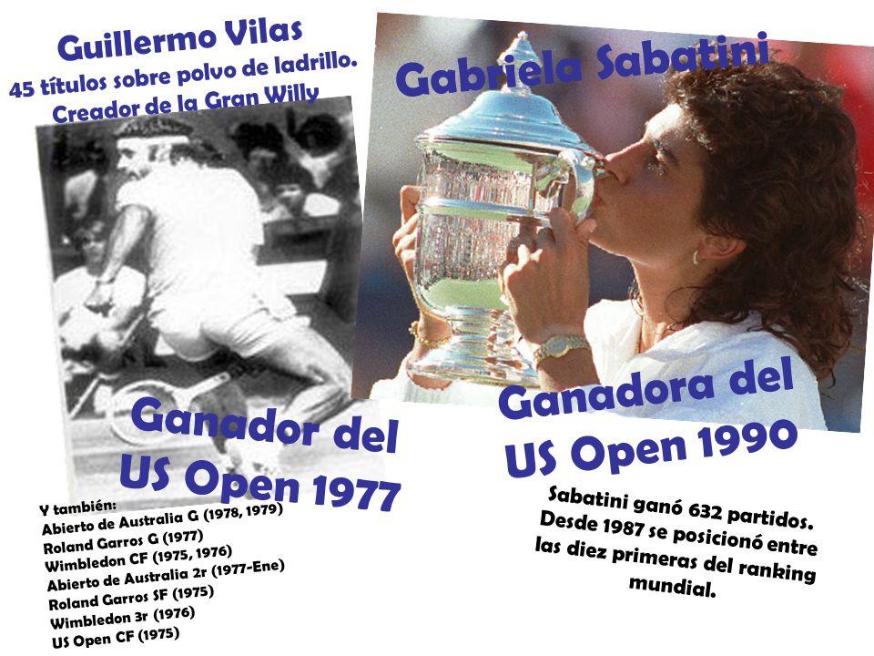 Guillermo Vilas 45 títulos sobre polvo de ladrillo.