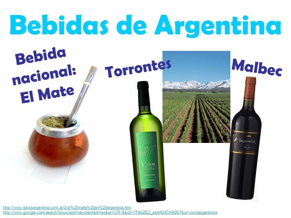 Bebidas de Argentina http://www.sitiosargentina.com.ar/2/el%20mate%20en%20argentina.htm http://www.google.com/search?sourceid=navclient&hl=es&ie=UTF-8&rlz=1T4GZEZ_esAR287AR287&q=vinosargentinos Malbec Bebida nacional: El Mate Torrontes