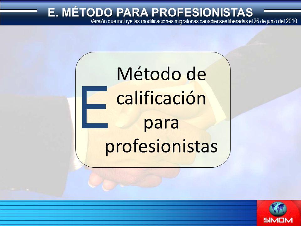 Método de calificación para profesionistas E E.