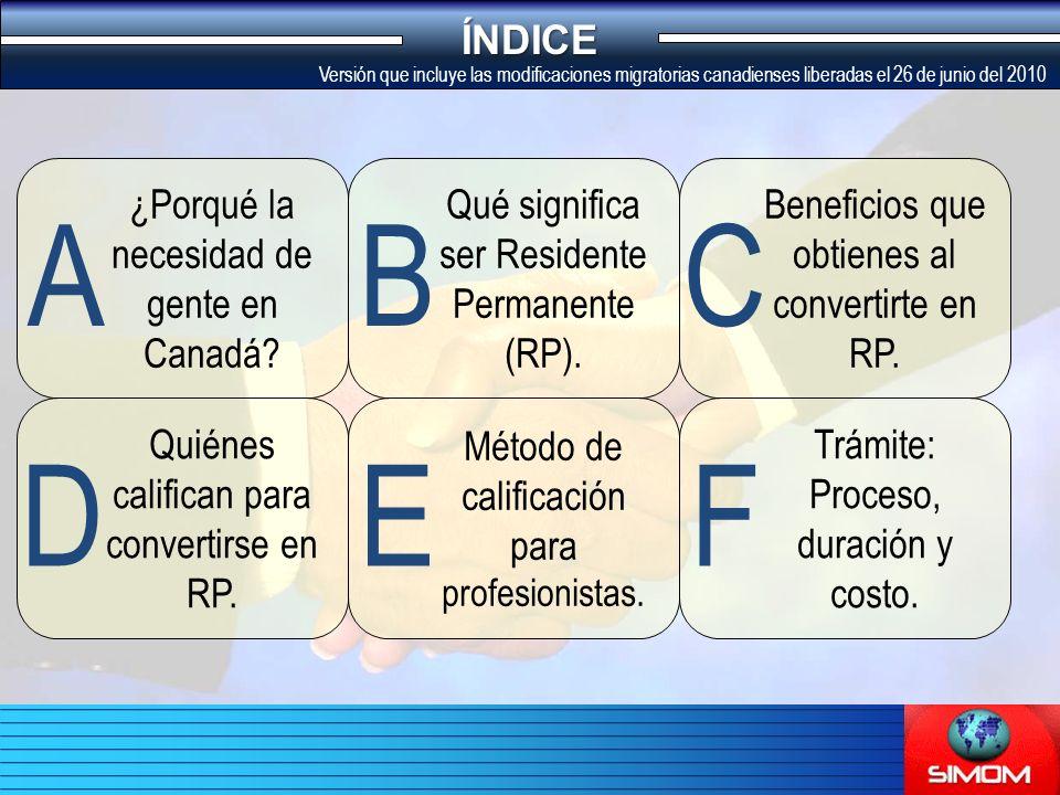 Qué significa ser Residente Permanente (RP). ¿Porqué la necesidad de gente en Canadá.
