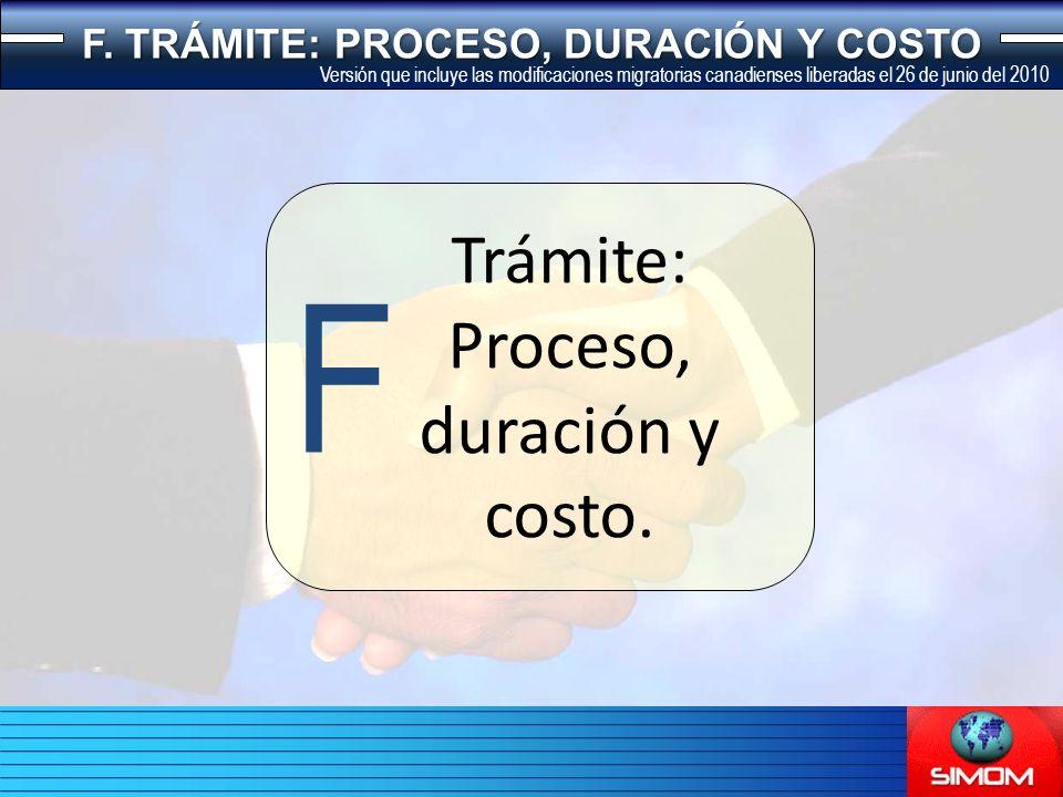 Trámite: Proceso, duración y costo. F F.