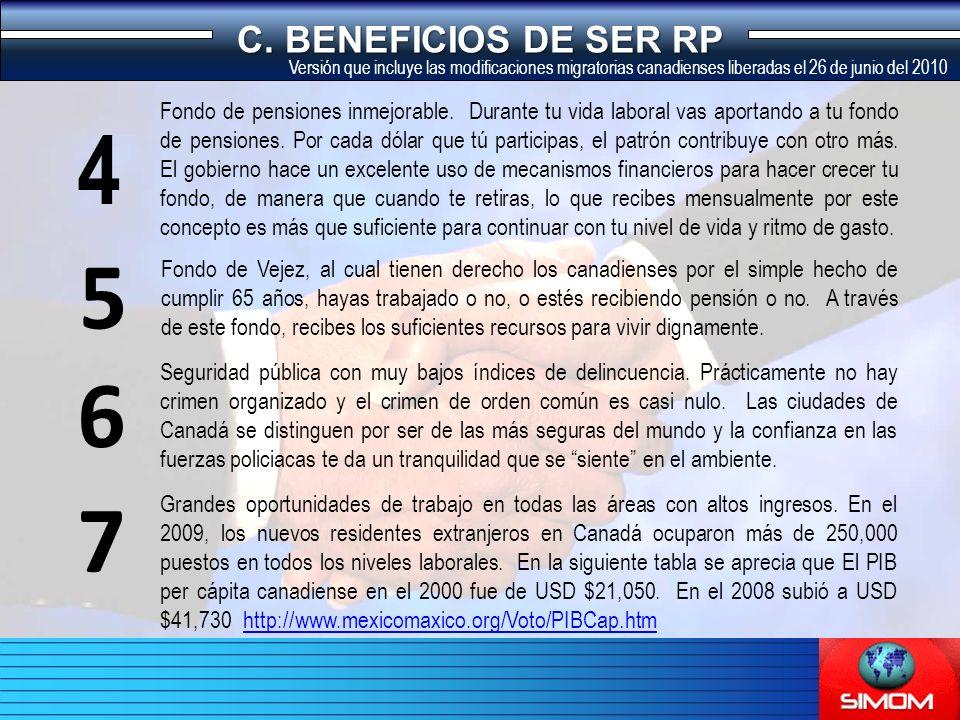 C. BENEFICIOS DE SER RP Fondo de pensiones inmejorable.