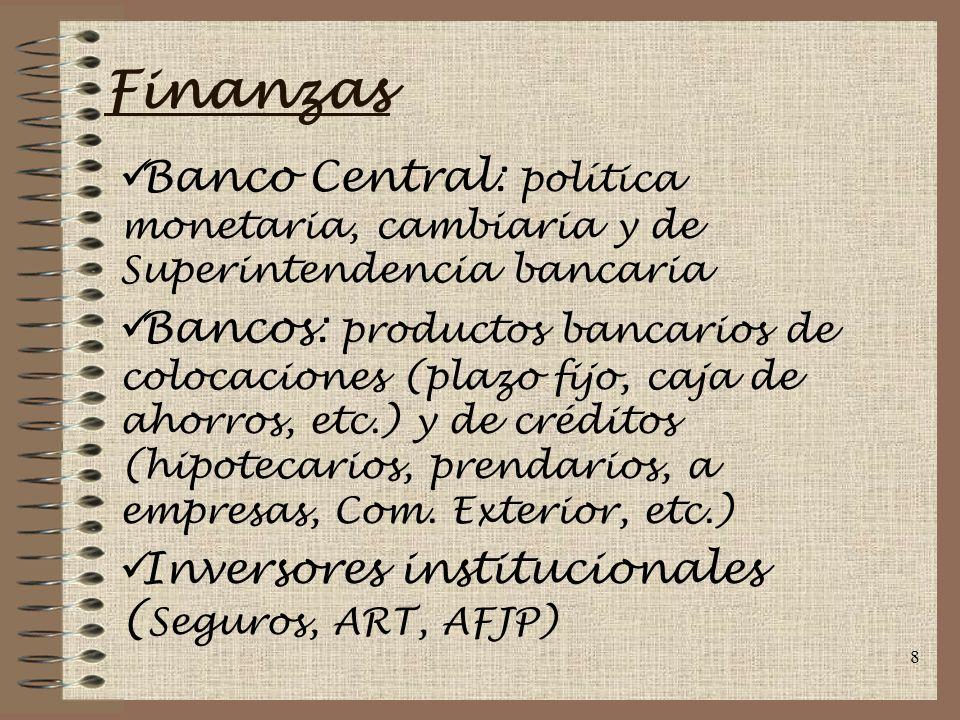 8 Finanzas Banco Central: política monetaria, cambiaria y de Superintendencia bancaria Bancos: productos bancarios de colocaciones (plazo fijo, caja de ahorros, etc.) y de créditos (hipotecarios, prendarios, a empresas, Com.