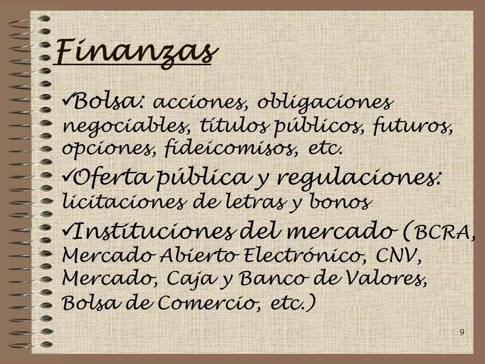 9 Finanzas Bolsa: acciones, obligaciones negociables, títulos públicos, futuros, opciones, fideicomisos, etc.