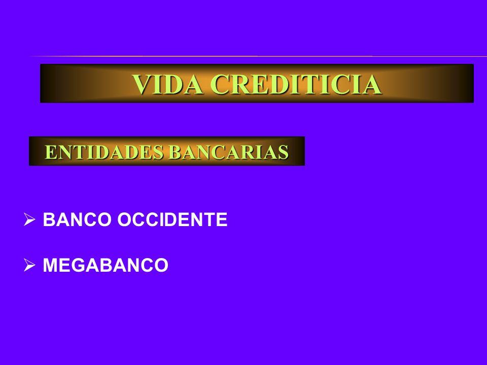 ENTIDADES BANCARIAS BANCO OCCIDENTE MEGABANCO VIDA CREDITICIA