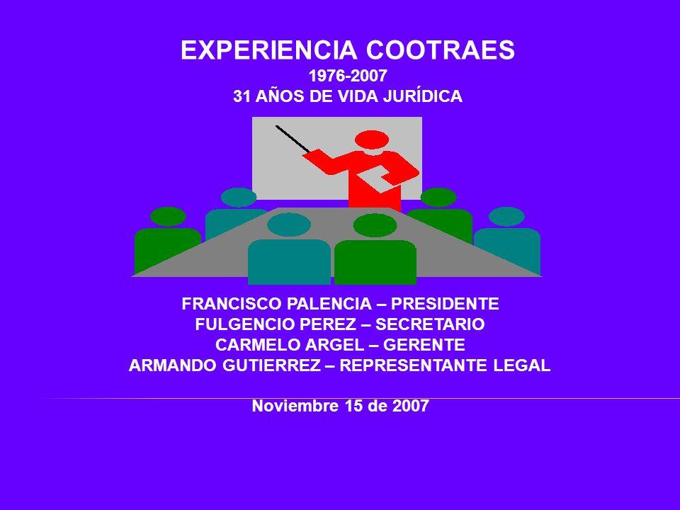 EXPERIENCIA COOTRAES 1976-2007 31 AÑOS DE VIDA JURÍDICA FRANCISCO PALENCIA – PRESIDENTE FULGENCIO PEREZ – SECRETARIO CARMELO ARGEL – GERENTE ARMANDO G