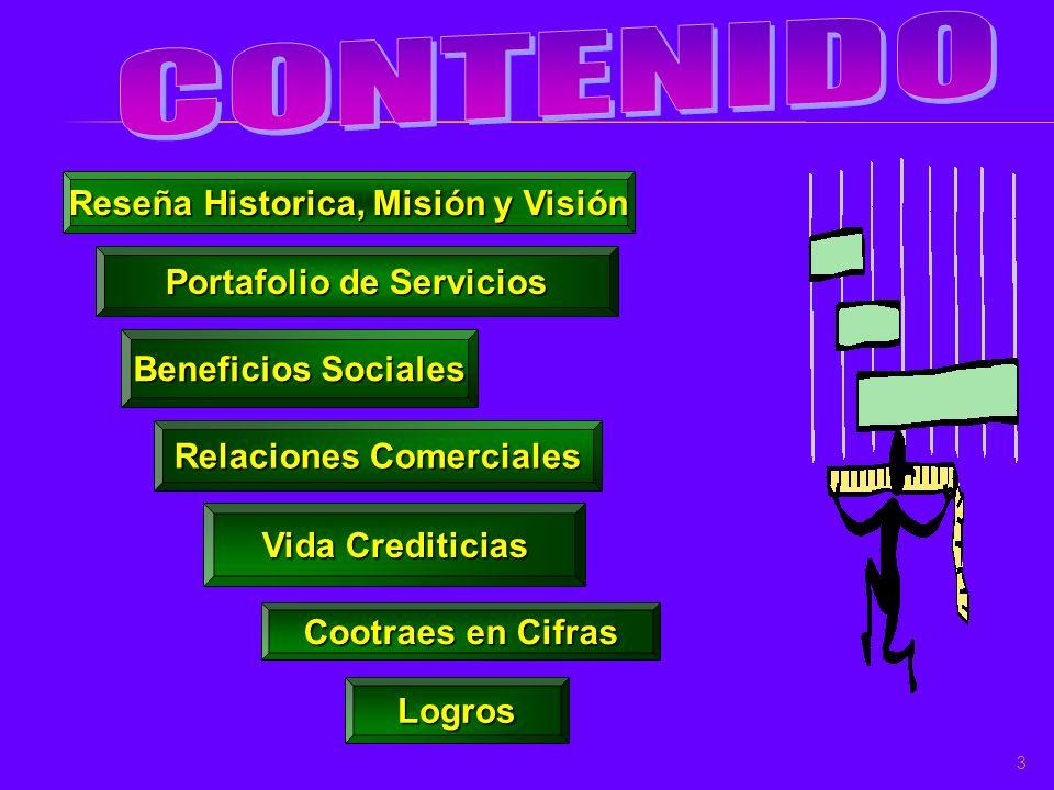 Reseña Historica, Misión y Visión Portafolio de Servicios Beneficios Sociales Relaciones Comerciales Vida Crediticias 3 Cootraes en Cifras Logros