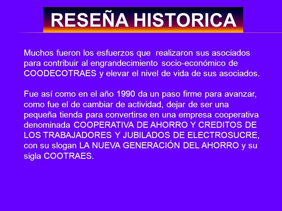RESEÑA HISTORICA Muchos fueron los esfuerzos que realizaron sus asociados para contribuir al engrandecimiento socio-económico de COODECOTRAES y elevar