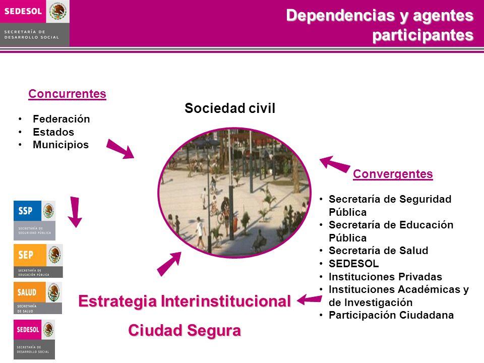 Convergentes Secretaría de Seguridad Pública Secretaría de Educación Pública Secretaría de Salud SEDESOL Instituciones Privadas Instituciones Académic