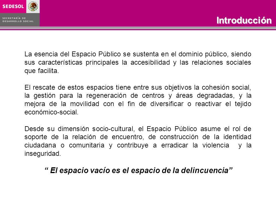 Introducción La esencia del Espacio Público se sustenta en el dominio público, siendo sus características principales la accesibilidad y las relacione