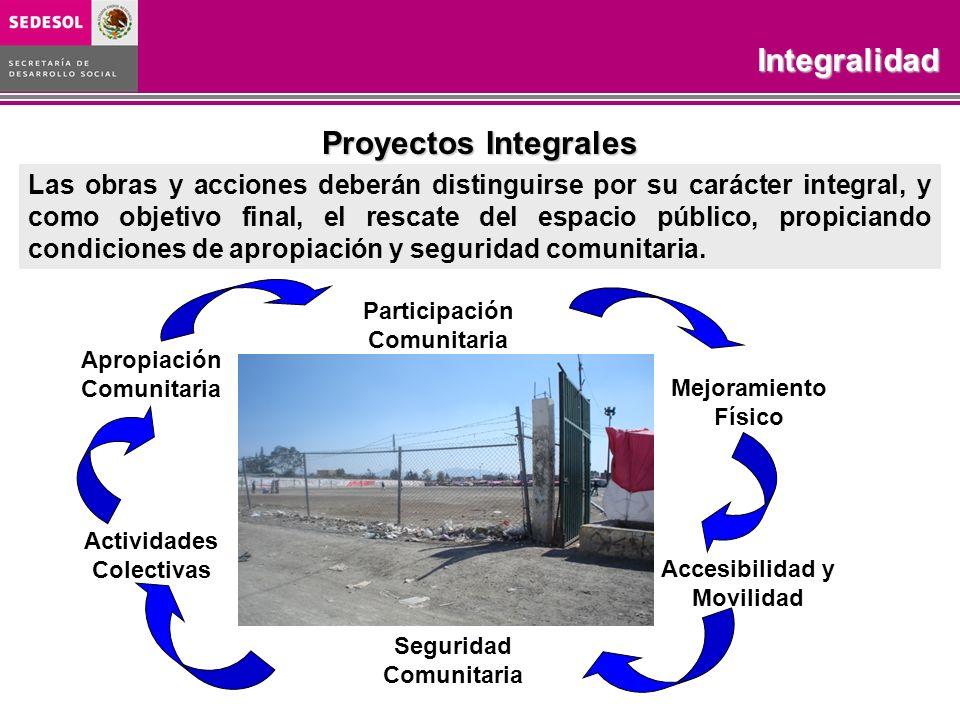 Programa Rescate de Espacios PúblicosObjetivo COBERTURA 2003-2006 Proyectos Integrales Las obras y acciones deberán distinguirse por su carácter integ