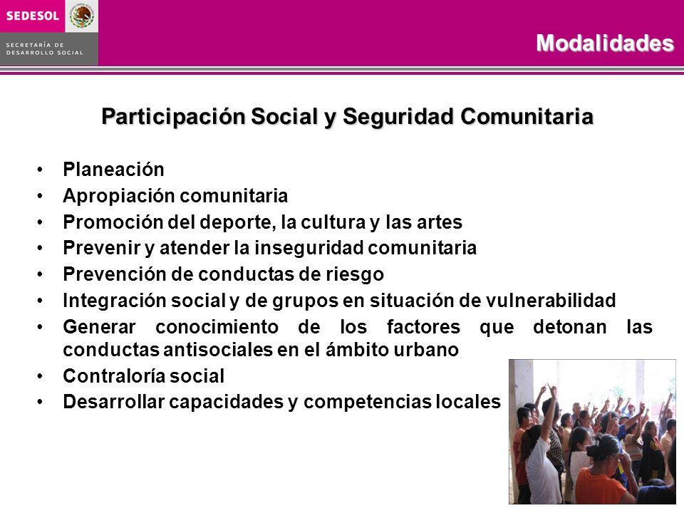 Participación Social y Seguridad Comunitaria Planeación Apropiación comunitaria Promoción del deporte, la cultura y las artes Prevenir y atender la in
