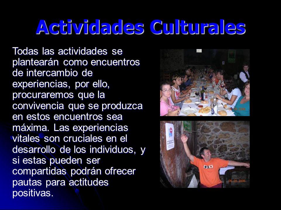 Todas las actividades se plantearán como encuentros de intercambio de experiencias, por ello, procuraremos que la convivencia que se produzca en estos encuentros sea máxima.
