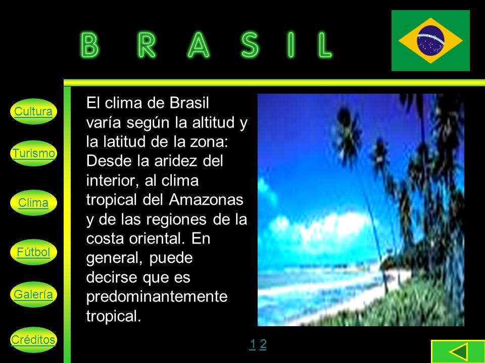 El clima de Brasil varía según la altitud y la latitud de la zona: Desde la aridez del interior, al clima tropical del Amazonas y de las regiones de la costa oriental.