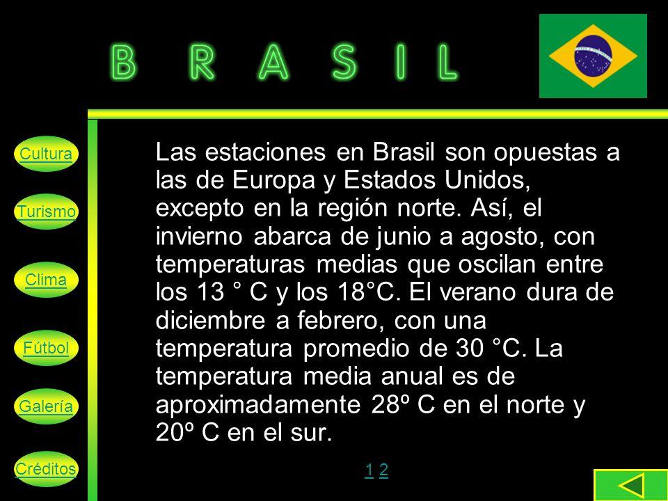 Las estaciones en Brasil son opuestas a las de Europa y Estados Unidos, excepto en la región norte.