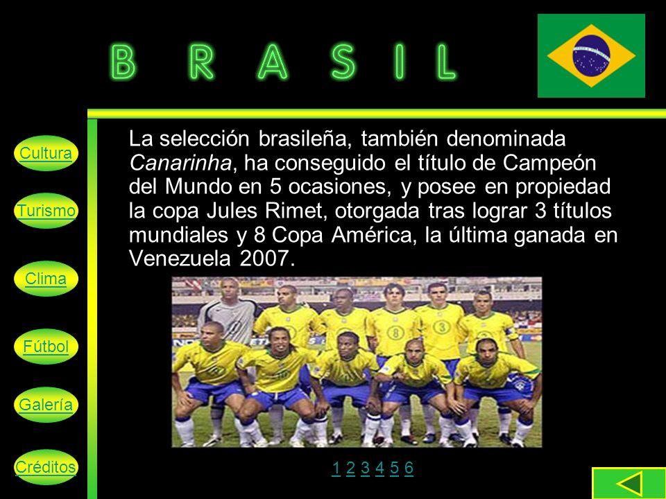 La selección brasileña, también denominada Canarinha, ha conseguido el título de Campeón del Mundo en 5 ocasiones, y posee en propiedad la copa Jules Rimet, otorgada tras lograr 3 títulos mundiales y 8 Copa América, la última ganada en Venezuela 2007.