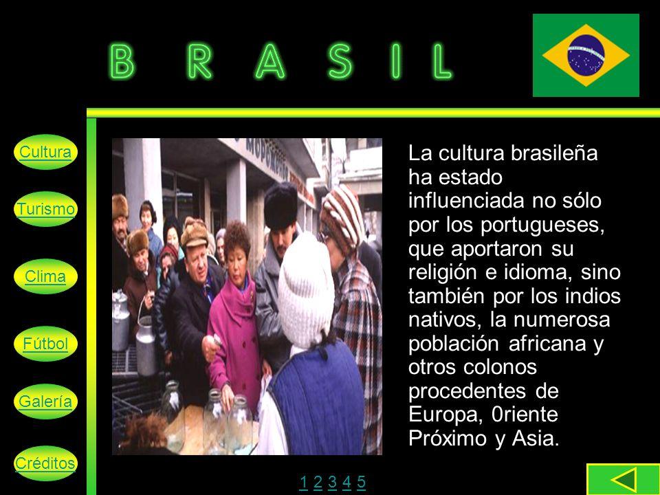 La cultura brasileña ha estado influenciada no sólo por los portugueses, que aportaron su religión e idioma, sino también por los indios nativos, la numerosa población africana y otros colonos procedentes de Europa, 0riente Próximo y Asia.