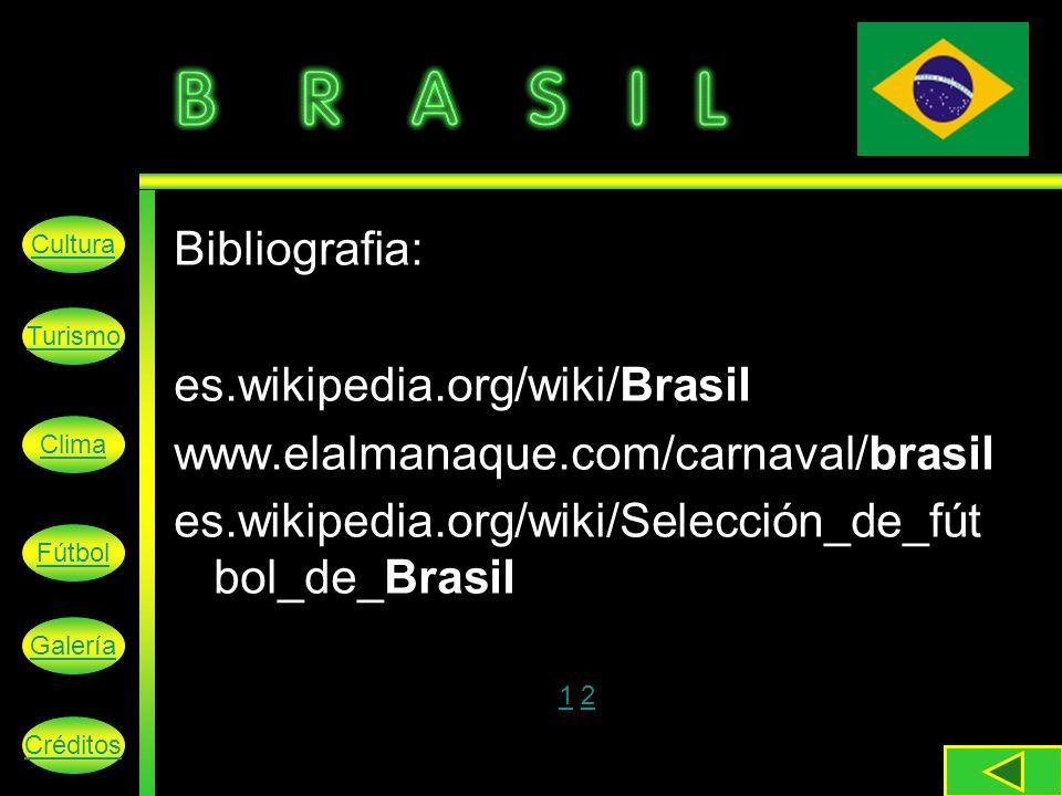 Cultura Turismo Clima Fútbol Galería Créditos Bibliografia: es.wikipedia.org/wiki/Brasil www.elalmanaque.com/carnaval/brasil es.wikipedia.org/wiki/Selección_de_fút bol_de_Brasil 1 21 2
