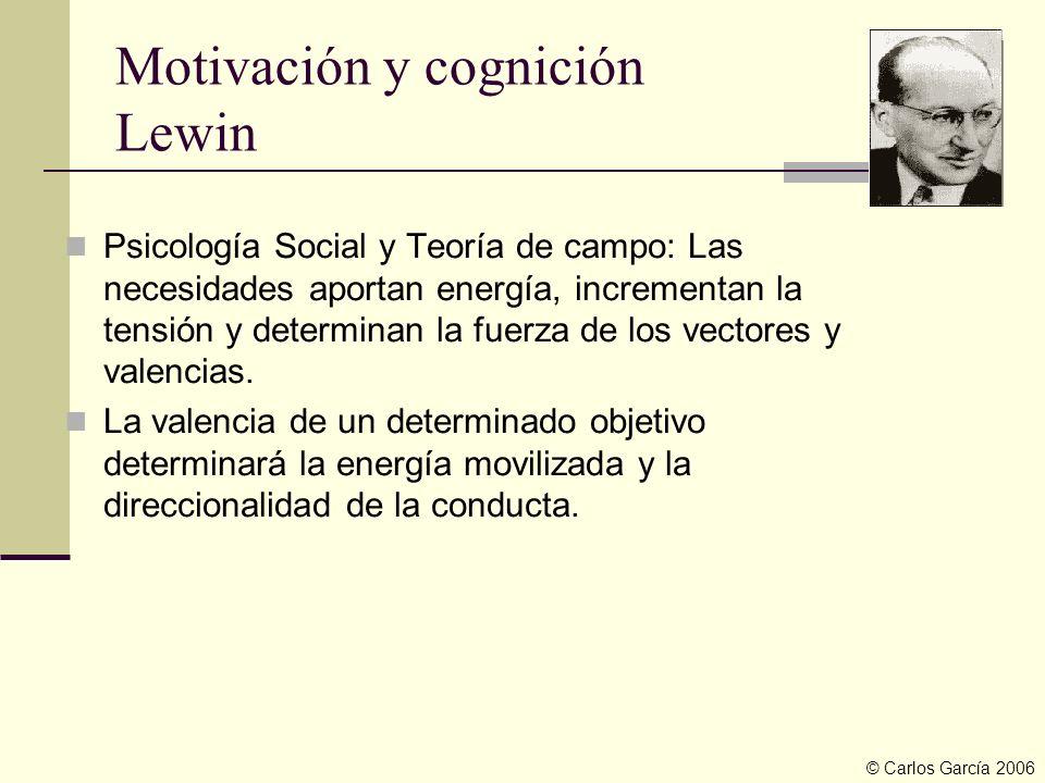 Motivación y cognición Lewin Psicología Social y Teoría de campo: Las necesidades aportan energía, incrementan la tensión y determinan la fuerza de lo