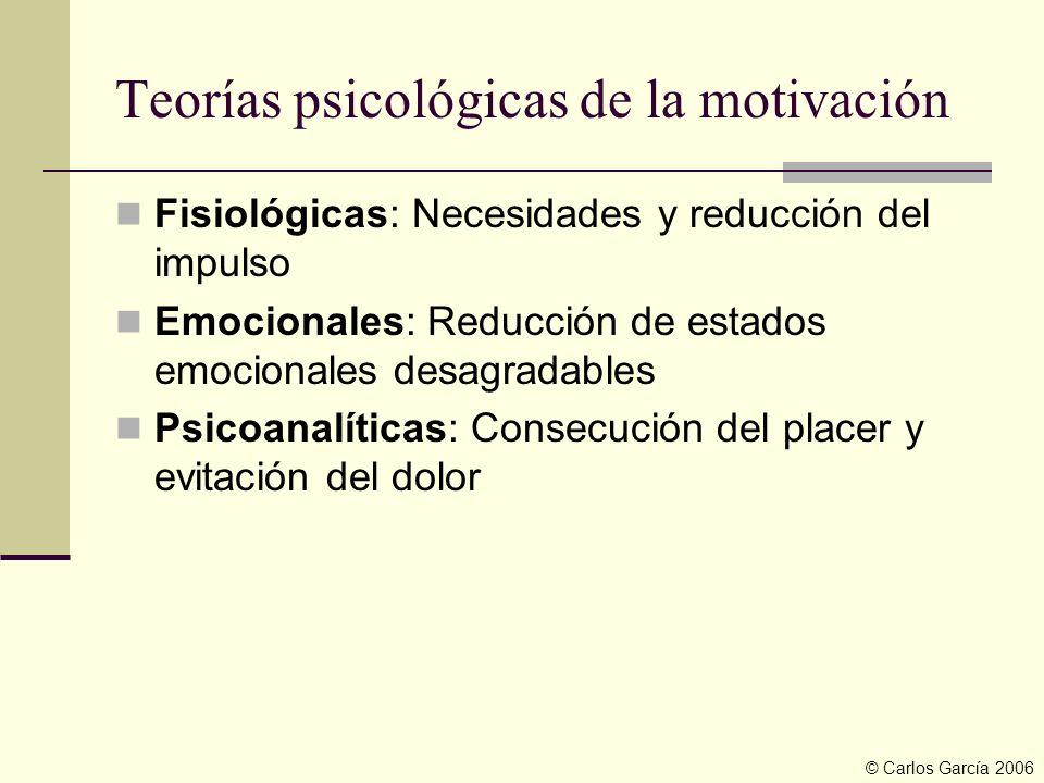 Teorías psicológicas de la motivación Fisiológicas: Necesidades y reducción del impulso Emocionales: Reducción de estados emocionales desagradables Ps