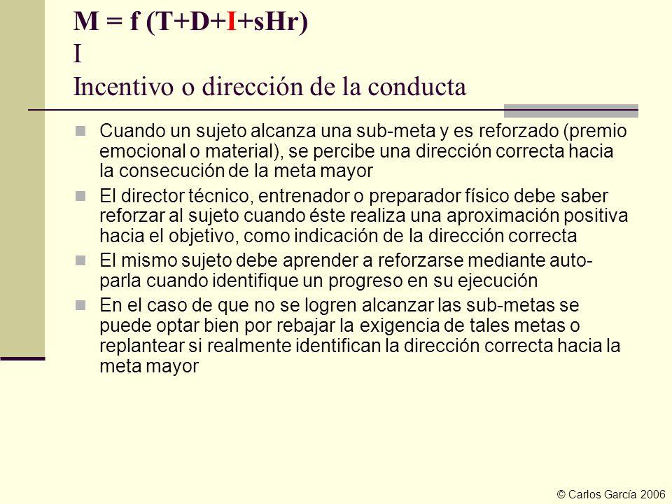 M = f (T+D+I+sHr) I Incentivo o dirección de la conducta Cuando un sujeto alcanza una sub-meta y es reforzado (premio emocional o material), se percib