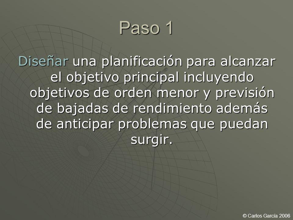 Paso 1 Diseñar una planificación para alcanzar el objetivo principal incluyendo objetivos de orden menor y previsión de bajadas de rendimiento además