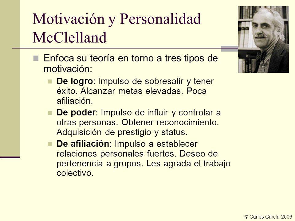 Motivación y Personalidad McClelland Enfoca su teoría en torno a tres tipos de motivación: De logro: Impulso de sobresalir y tener éxito. Alcanzar met