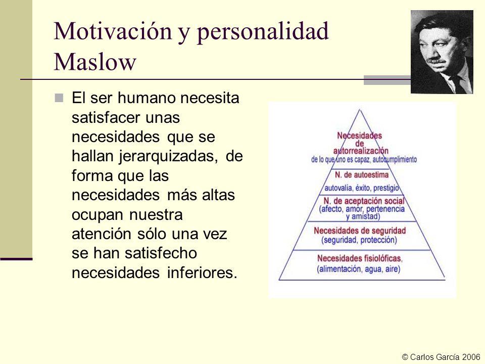 Motivación y personalidad Maslow El ser humano necesita satisfacer unas necesidades que se hallan jerarquizadas, de forma que las necesidades más alta