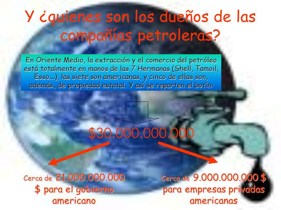 Ganancias netas generadas por el aumento del precio del petróleo: $60.000.000.000 $30.000.000.000 para las compañías petroleras $30.000.000.000 para los gobiernos de los Países Árabes (Kuwait + Arabia Saudí)
