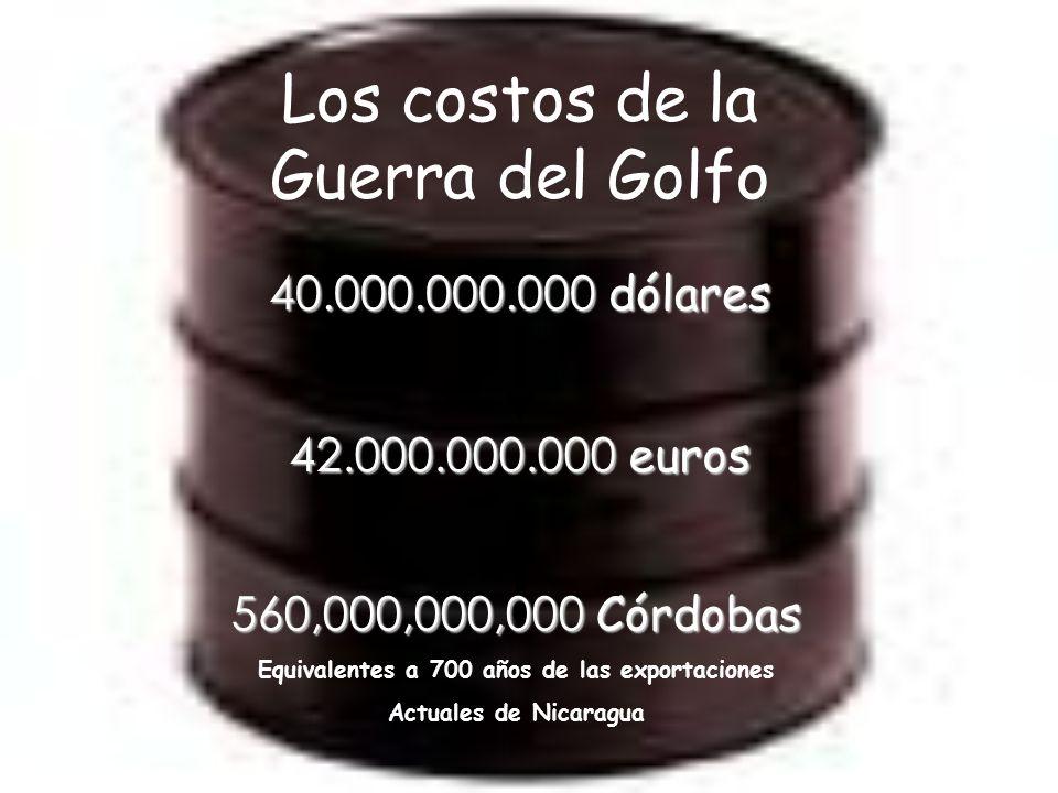 Los costos de la Guerra del Golfo 40.000.000.000 dólares 42.000.000.000 euros 560,000,000,000 Córdobas Equivalentes a 700 años de las exportaciones Actuales de Nicaragua