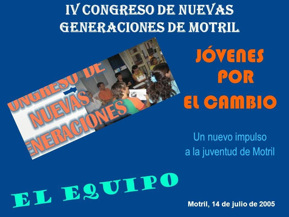 IV CONGRESO DE NUEVAS GENERACIONES DE MOTRIL JÓVENES POR EL CAMBIO Un nuevo impulso a la juventud de Motril E L E Q U I P O Motril, 14 de julio de 200