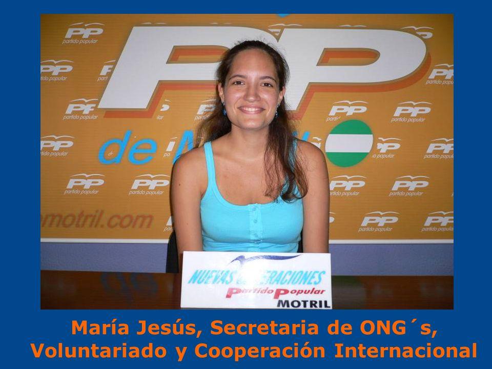 María Jesús, Secretaria de ONG´s, Voluntariado y Cooperación Internacional