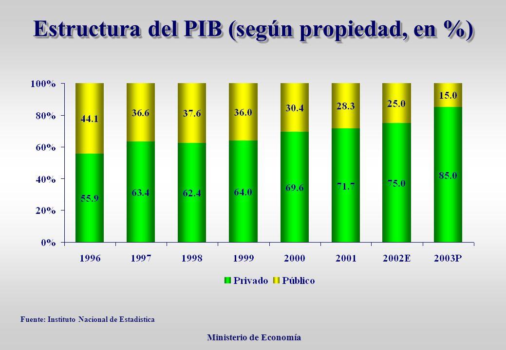 Ministerio de Economía Ministerio de Economía Estructura del PIB (según propiedad, en %) Fuente: Instituto Nacional de Estadistica