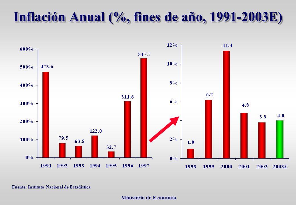 Ministerio de Economía Ministerio de Economía Inflación Anual (%, fines de año, 1991-2003Е) Fuente: Instituto Nacional de Estadistica