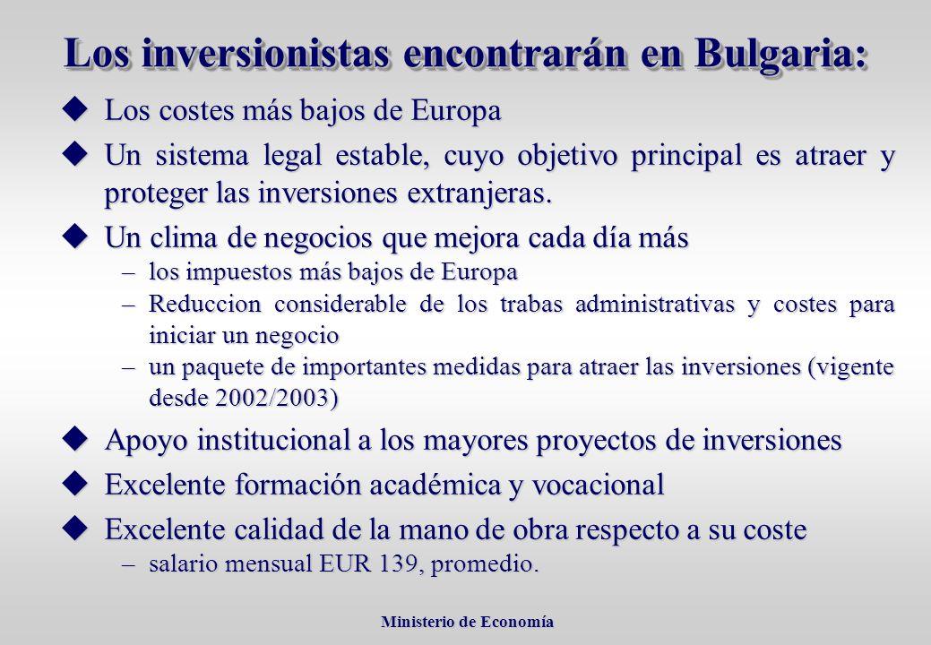 Ministerio de Economía Ministerio de Economía uLos costes más bajos de Europa uUn sistema legal estable, cuyo objetivo principal es atraer y proteger las inversiones extranjeras.