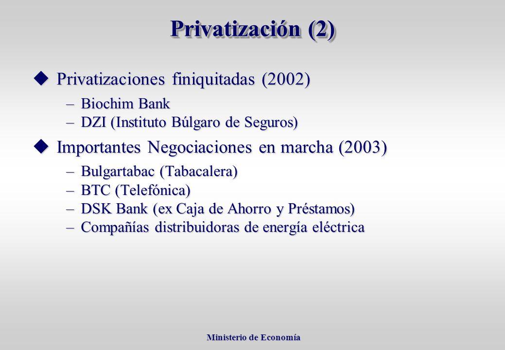 Ministerio de Economía Ministerio de Economía Privatizaciones finiquitadas (2002) Privatizaciones finiquitadas (2002) –Biochim Bank –DZI (Instituto Búlgaro de Seguros) Importantes Negociaciones en marcha (2003) Importantes Negociaciones en marcha (2003) –Bulgartabac (Tabacalera) –BTC (Telefónica) –DSK Bank (ex Caja de Ahorro y Préstamos) –Compañías distribuidoras de energía eléctrica Privatización (2)