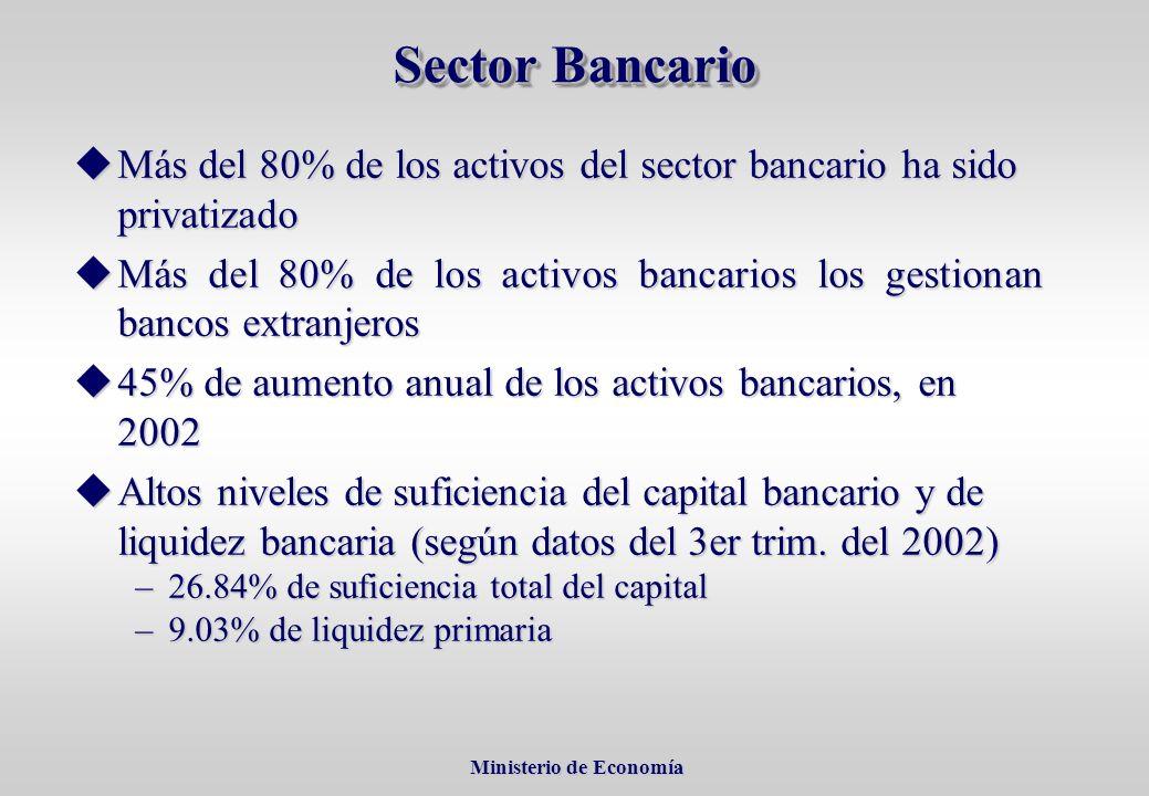 Ministerio de Economía Ministerio de Economía uMás del 80% de los activos del sector bancario ha sido privatizado uMás del 80% de los activos bancarios los gestionan bancos extranjeros u45% de aumento anual de los activos bancarios, en 2002 uAltos niveles de suficiencia del capital bancario y de liquidez bancaria (según datos del 3er trim.